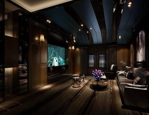 影音室, 多人沙发, 茶几, 电视柜, 边柜, 装饰柜, 装饰画, 挂画, 装饰品, 新古典