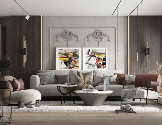 沙发组合, 挂画, 茶几, 单椅, 壁灯, 植物