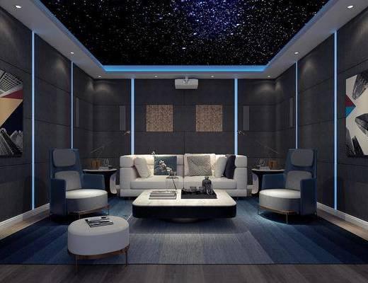 影音室, 多人沙发, 茶几, 单人沙发, 凳子, 边几, 台灯, 装饰画, 挂画, 摆件, 现代