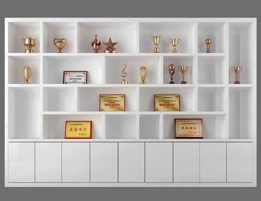 书柜, 证书, 奖杯, 陈设品, 摆件, 置物柜