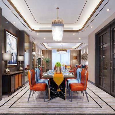 餐厅, 餐桌, 餐椅, 边柜, 台灯, 装饰画, 吊灯, 现代