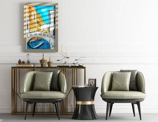 单人沙发, 边几, 装饰画, 挂画, 摆件, 装饰品, 陈设品, 茶几, 北欧