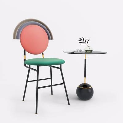 椅子边几, 单人椅, 边几组合, 后现代