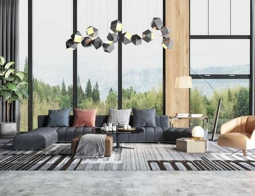 现代沙发, 沙发组合, 沙发茶几组合, 转角沙发, 多人沙发