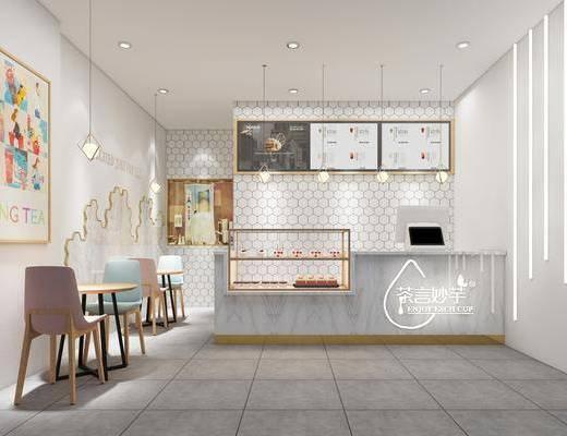 奶茶店, 前台接待, 桌椅组合, 吊灯组合, 食物柜, 食物, 北欧