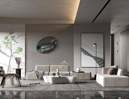 沙发组合, 墙饰, 装饰画, 单椅, 背景墙, 抱枕