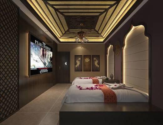 新中式, SAP, 床, 挂画, 吊灯, 会所