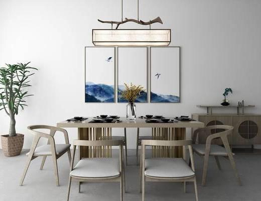 新中式, 餐桌椅, 单人椅, 餐桌, 吊灯, 挂画, 装饰柜, 盆栽