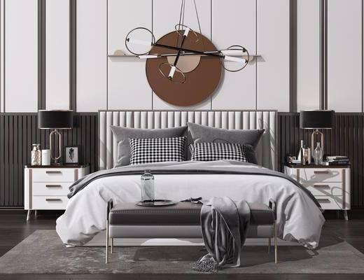 床头柜, 艺术吊灯, 地毯