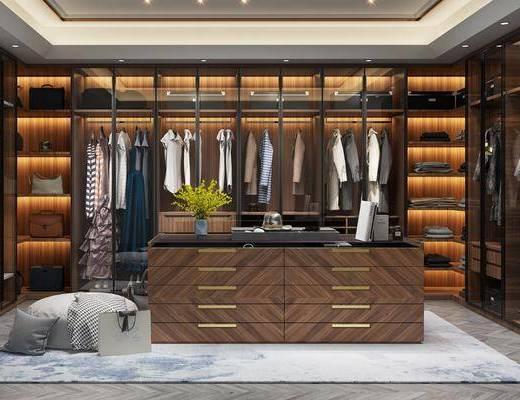 衣帽间, 衣柜, 服饰, 脚踏沙发, 绿植植物, 射灯, 花瓶绿植, 现代