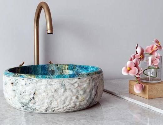 洗手盆, 洗浴用品, 摆件组合