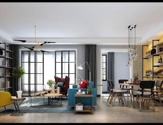 客厅, 餐厅, 多人沙发, 边几, 落地灯, 单人沙发, 茶几, 装饰架, 餐桌, 餐椅, 单人椅, 吊灯, 台灯, 装饰品, 陈设品, 装饰柜, 工业风