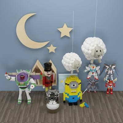 欧式木偶士兵雪人玩具, 巴斯光年变形金刚玩具, 卡通乐高小黄人, 绵羊, 月牙挂件