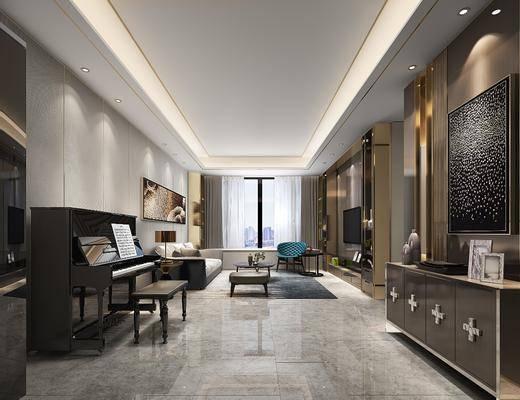 客厅, 钢琴, 多人沙发, 茶几, 单人沙发, 躺椅, 装饰柜, 边柜, 电视柜, 装饰画, 挂画, 凳子, 摆件, 装饰品, 陈设品, 现代