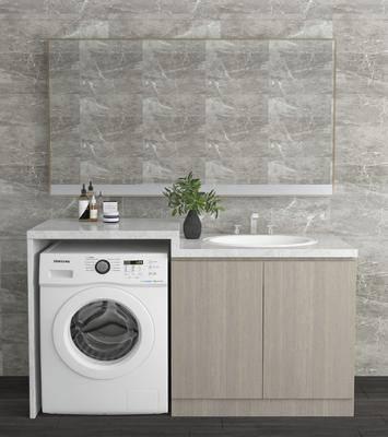 洗手台, 洗衣机, 盆栽, 绿植植物, 现代