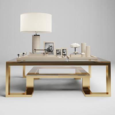 茶几, 装饰灯, 相框, 装饰品, 现代