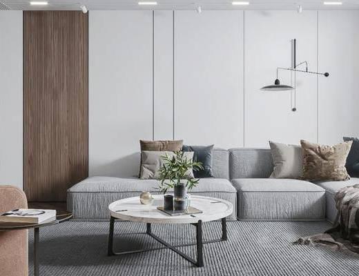 沙发组合, 茶几, 花瓶, 单椅, 墙饰