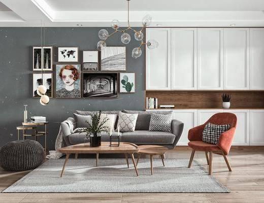 多人沙发, 吊灯, 挂画, 柜子, 摆件
