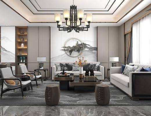 沙发组合, 茶几, 背景墙, 吊灯, 单椅, 摆件组合, 餐桌
