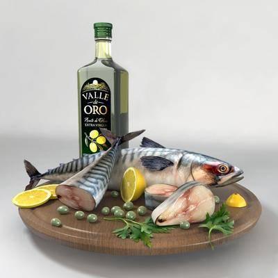 现代柠檬鱼食物端盘组合, 现代, 食物, 鱼, 酒, 柠檬