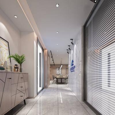 新中式, 办公室, 走道, 办公区, 3D模型