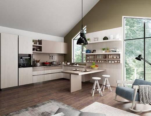 厨房, 橱柜, 厨具, 吧台, 吧椅, 单人椅, 单人沙发, 吊灯, 落地灯, 沙发脚踏, 装饰柜, 装饰架, 置物架, 装饰品, 陈设品, 北欧
