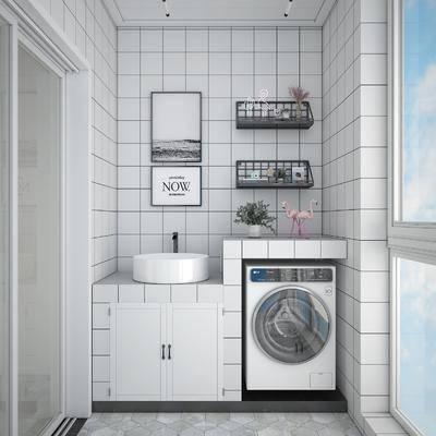 阳台露台, 阳光房, 洗衣房, 洗手台组合, 现代