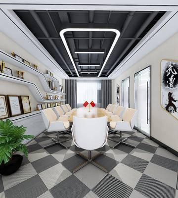 会议室, 会议桌, 现代, 办公椅, 椅子, 桌子, 置物架, 装饰架, 奖状, 墙饰