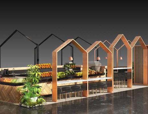 饮品店, 店面设计, 现代, 水果, 柜台, 植物