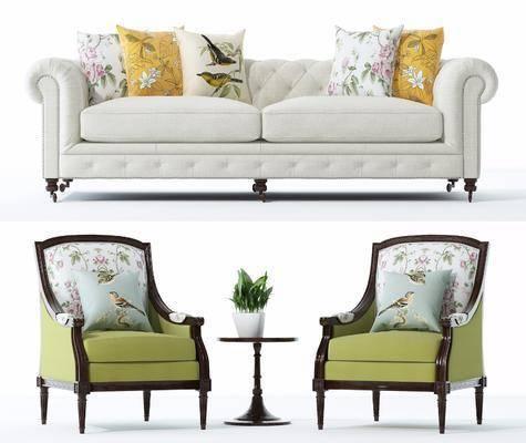 美式沙发单椅组合, 美式, 美式沙发, 美式椅子, 抱枕, 靠枕