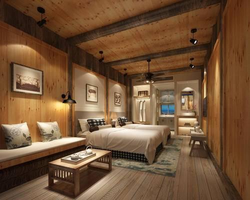 卧室, 客房, 酒店客房, 酒店, 床, 茶几, 沙发
