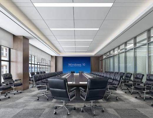 现代, 写实, 大会议室, 现代会议室, 会议桌, 办公椅