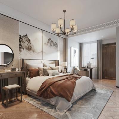 书房, 双人床, 背景墙, 梳妆台, 床头柜
