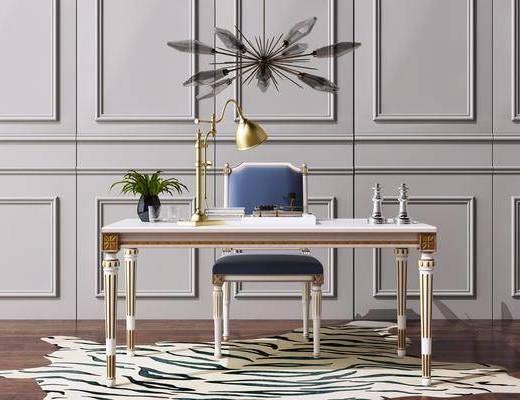 歐式, 書桌, 桌椅組合