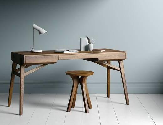 桌椅组合, 书桌, 凳子, 台灯, 北欧