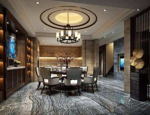 新中式别墅餐厅, 新中式, 餐厅, 餐桌椅, 中式吊灯, 酒柜, 花瓶, 中式椅子