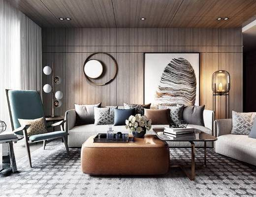 墙饰, 沙发组合, 茶几, 抱枕, 单椅, 装饰画, 落地灯