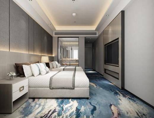 酒店客房, 床具組合, 新中式