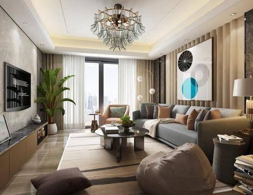 客厅, 现代客厅, 沙发组合, 茶几, 吊灯, 现代沙发组合, 现代