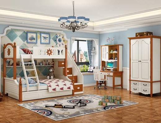 单人床, 上下铺, 吊灯, 衣柜, 写字桌, 地毯, 玩具