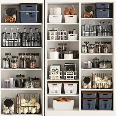 厨房, 储物柜, 储物瓶, 储物篮