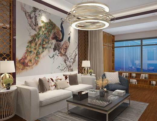 客餐厅, 新中式, 电视背景墙, 组合沙发, 客厅, 中式客厅