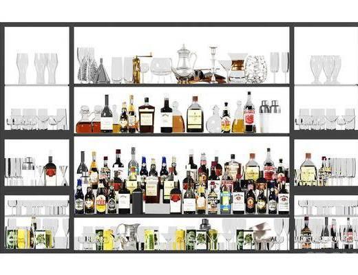 装饰架, 酒瓶酒杯, 现代