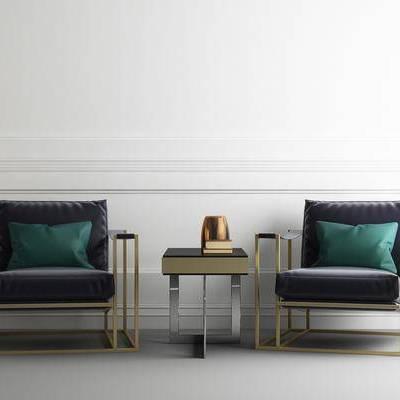 沙发椅, 茶几, 摆件