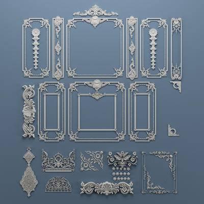 欧式石膏雕花, 构件, 对角花, 雕刻, 角线