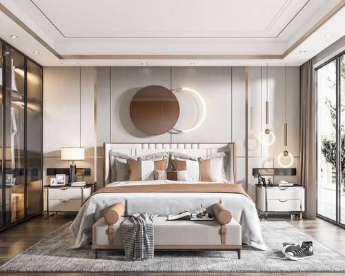 现代卧室, 轻奢卧室, 现代轻奢卧室, 卧室