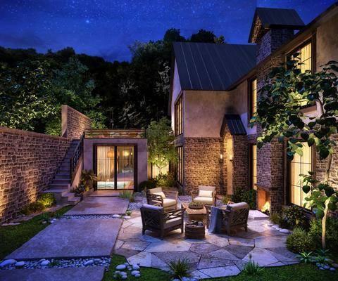 庭院花园, 门面门头, 树木, 绿植植物, 桌子, 单人椅, 单人沙发, 壁灯, 现代