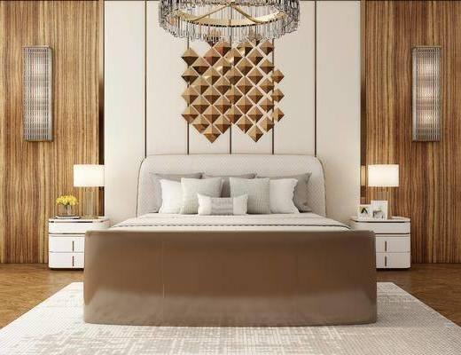 床具组合, 壁灯吊灯, 现代