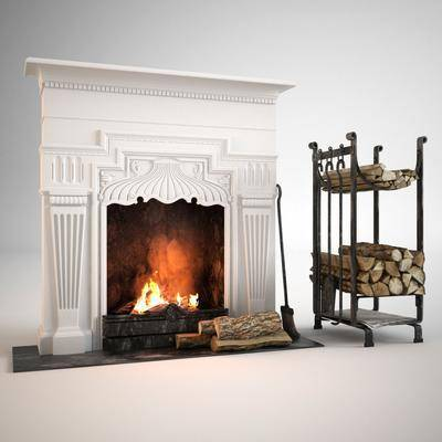 壁炉, 柴架, 组合, 扫帚, 现代, 欧式壁炉