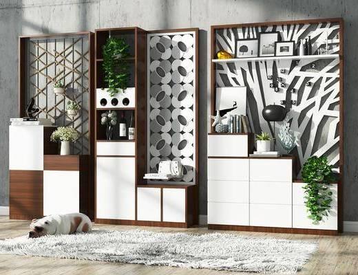 鞋柜, 现代鞋柜组合, 摆件, 装饰品, 植物, 盆栽, 边柜, 现代